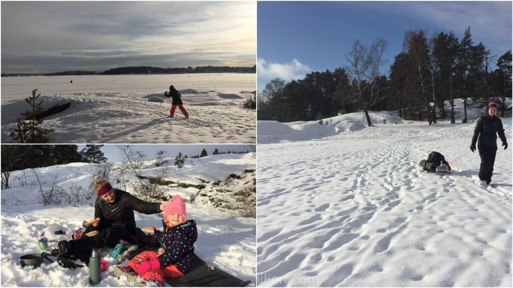 skitur på isen med barn
