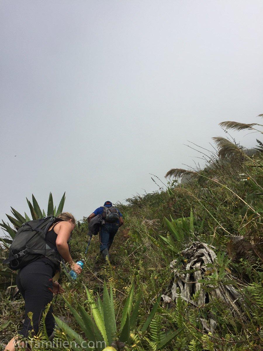 vulkanrøyk og bratte bakker til volcano Concepción